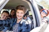 picture of driving  - Young people having vacation enjoying fun driving car - JPG