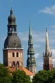picture of church  -  Three church towers in the picture are the Riga Dome cathedral - JPG