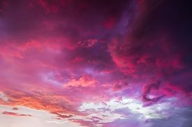 picture of glorious  - A dramatic and colorful cloudy sunset sky is photographed over Indiana - JPG