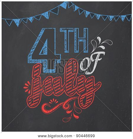 American Independence Day celebration poster, banner or flyer decorated with creative text 4th of Ju