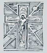 picture of passion christ  - Hand drawn vector illustration or drawing of Jesus Christ at His Passion - JPG