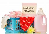pic of detergent  - Detergent with washing powder and towels isolated on white - JPG