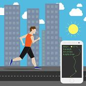 picture of long distance  - Man running his own personal marathon in the city and smartphone showing time air temperature speed and distance - JPG