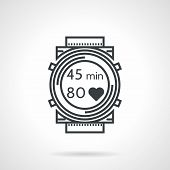 pic of wrist  - Flat black line vector icon for sports wrist watch with time and heartbeat count on white background - JPG
