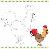 stock photo of black-cock  - Connect the dots and coloring page of funny farm cock - JPG