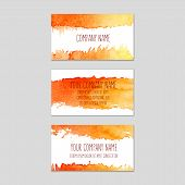 image of wet  - Set of business cards with orange watercolor background - JPG