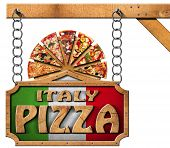 pic of food chain  - Wooden sign with frame and text Italy pizza slices of pizza on cutting board - JPG