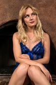 pic of chemise  - Beautiful tall Russian blonde in a blue chemise - JPG