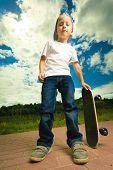 stock photo of skateboarding  - Active childhood - JPG