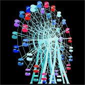 foto of carnival ride  - Colorful Fun Park Fair Carnival Carousel Vector - JPG