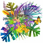 foto of jungle flowers  - Tropical leaves - JPG