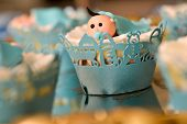image of christening  - Christening blue decoration with baby boy in natural light  - JPG