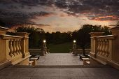 foto of balustrade  - Empty vintage entrance to the garden at the sunset with copy space - JPG
