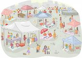 image of flea  - Illustration of a Flea Market Filled with People Out Shopping - JPG