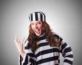 foto of prison uniform  - Convict criminal in striped uniform - JPG