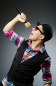 picture of karaoke  - Funny man singing in karaoke - JPG