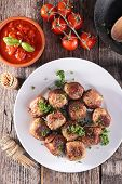 stock photo of meatball  - grilled meatball and herbs - JPG