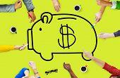 pic of economizer  - Piggy Bank Saving Money Economize Profit Concept - JPG
