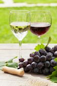 stock photo of grape  - White and red wine glasses and red grape - JPG