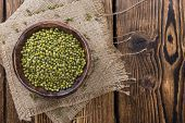 pic of mung beans  - Portion of dried Mung Beans (detailed close-up shot)