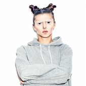pic of evil  - A scary evil woman with black eyes on a white background for a fear or Halloween concept - JPG