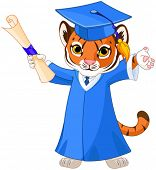 picture of cute tiger  - Illustration of cute tiger graduates  - JPG
