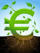 stock photo of bine  - Stylized plant in shape of euro sign in ground - JPG