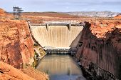 picture of dam  - The Lake Powell and Glen Canyon Dam near Page Arizona - JPG