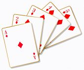 foto of card-making  - The playing card making a flush over a white background - JPG