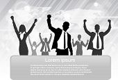 stock photo of exciting  - Business People Group Silhouette Excited Hold Hands Up Raised Arms - JPG