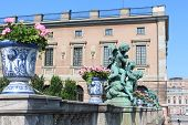 stock photo of royal palace  - The sculpture of angels beside the Royal Palace in Stockholm - JPG