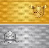 stock photo of stitches  - Aluminum and brass stitched textures gold silver background vector illustration - JPG