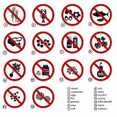 image of mollusca  - set of typical food alergens prohibitions for restaurants and meal - JPG