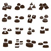 stock photo of truffle  - 16 sweet chocolate truffles styles icons set - JPG