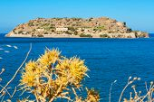 stock photo of foreground  - Venetian fort and former leper colony on Spinalonga Island Crete Greece - JPG