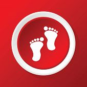 picture of webbed feet white  - Round white icon with image of footprint - JPG