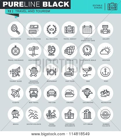 Thin line icons set of travel and tourism