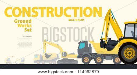 Construction equipment - yellow typography set of ground works machines vehicles - Excavator.
