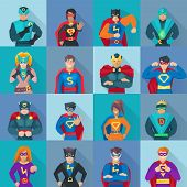 Superhero Square Icons Set poster