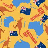 Постер, плакат: Australia Day Seamless Pattern Ornament For National Day Of Australia Map Of Australia And Kangaro