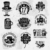 Patricks Day Typography Retro Emblems poster