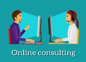 Постер, плакат: Online Consulting Design Flat Concept