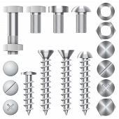 Construction hardware vector icons. Screws, bolts, nuts and rivets poster