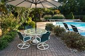 Landscaped Backyard Patio and Pool poster