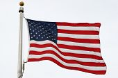 foto of waving american flag  - closeup of american flag waving in the wind - JPG
