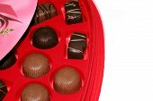 picture of valentine candy  - assorted chocolate candy in heart - JPG