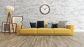 Living Room With Big Watch On White Brick Wall 3D Rendering poster