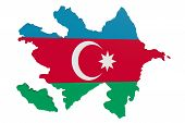 Постер, плакат: Azerbaijan Flag Map