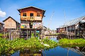 Постер, плакат: Inle Lake and fishermens village