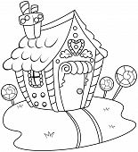 image of gingerbread house  - Line Art Illustration of a Gingerbread House - JPG